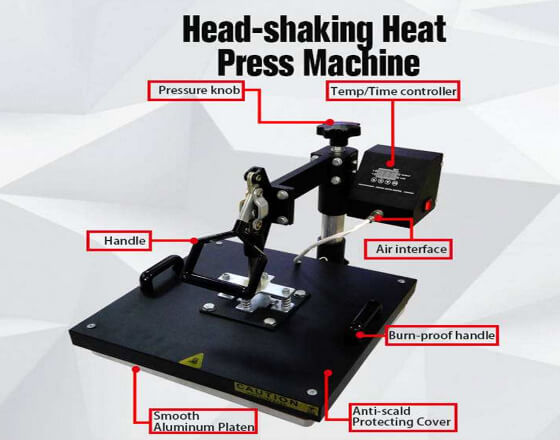 Simple Shaking Machine Flat Heat Press Machine(38x38cm)