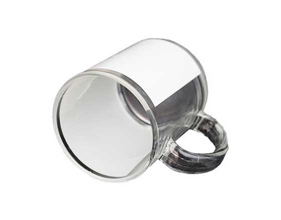 11oz Glass Mug with White Patch