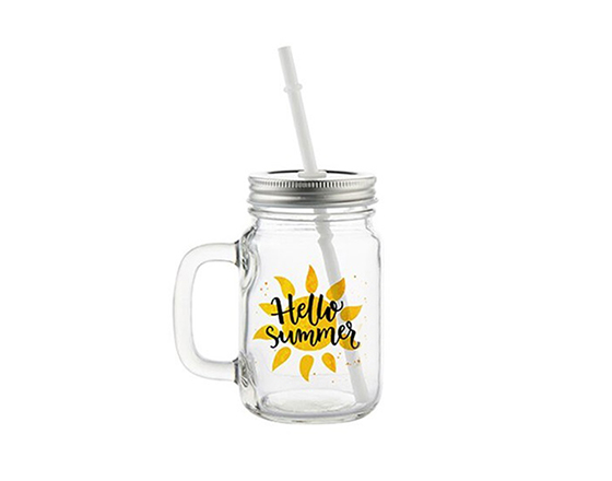 12oz Mason Jar with Straw(Clear)