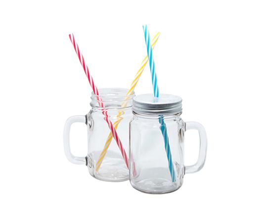 12oz Mason Jar with Straw(Clear)