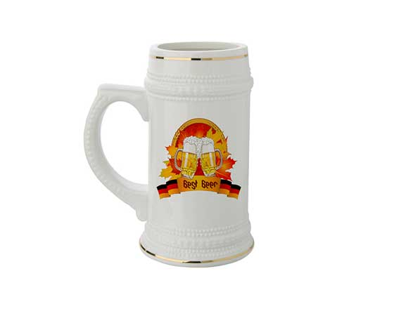22oz Ceramic Beer Mug With Gold Rim