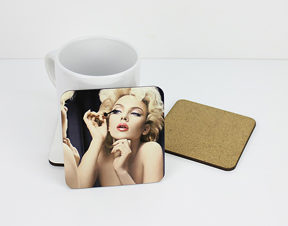 10cm Square MDF  coaster with cork