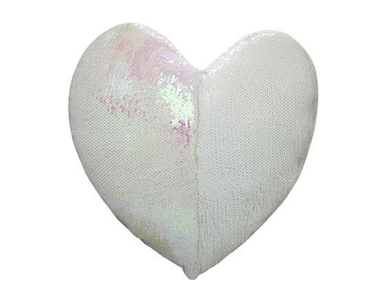 Sublimation Heart Shape Flip Magic Sequin Pillow Cover(Pink)