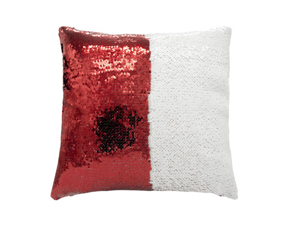 Square Shape Sequin Pillow Cover ( Red )
