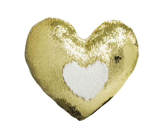Heart Shape Sequin Pillow Cover (Gold)