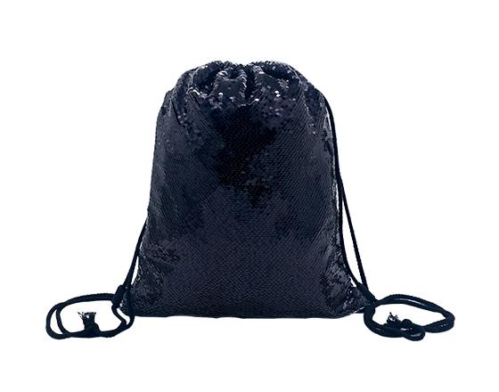 Sublimation Printable Blank Sequin Drawstring Backpack(Black)