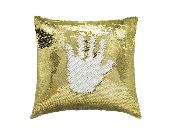 Square Shape Sequin Pillow Cover ( Gold )