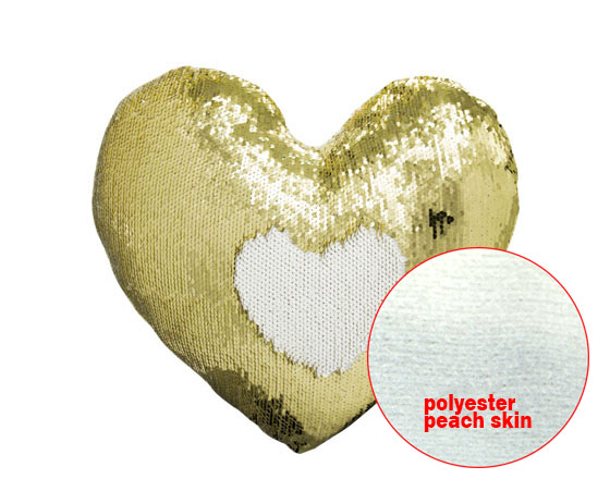 Heart Shape Sequin Pillow Cover (Gold)