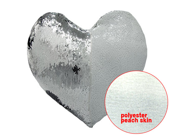 Heart Shape Sequin Pillow Cover (Sliver)