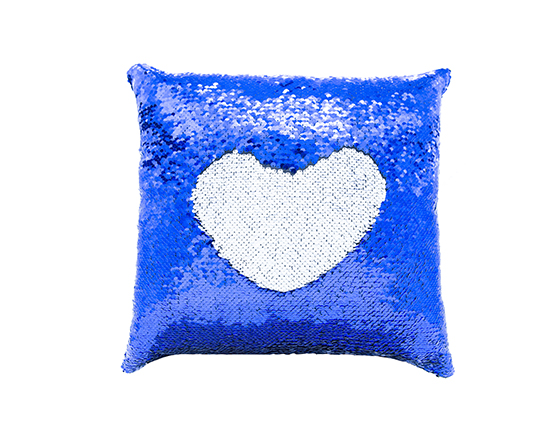 Square Shape Sequin Pillow Cover ( Blue )