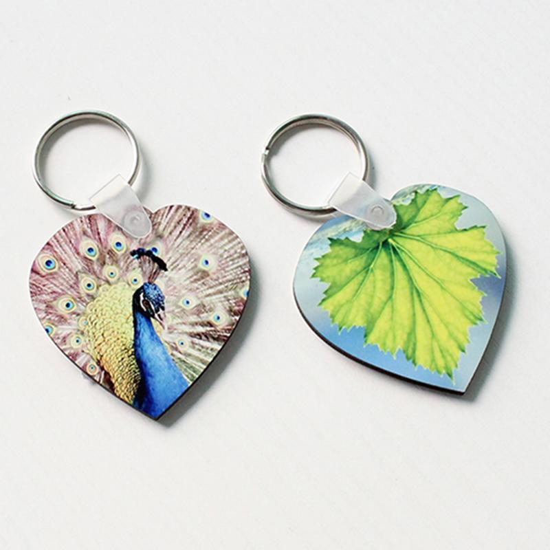 Heart-Shaped Sublimation MDF Keychain