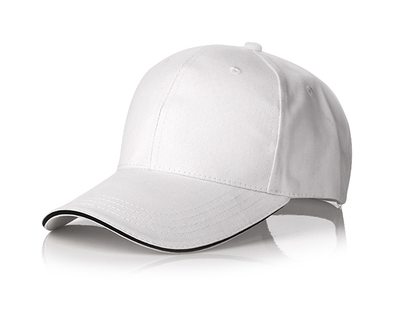 6 panels cotton cap with brass buckle(white)