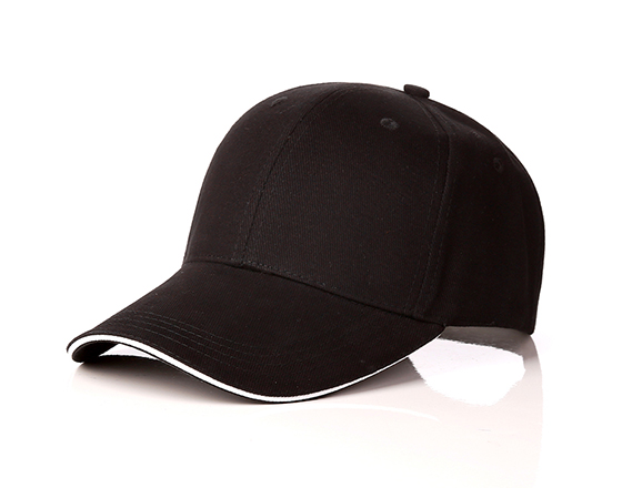 6 panels cotton cap with brass buckle(black)