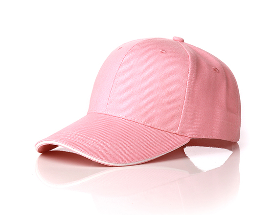 6 panels cotton cap with brass buckle(pink)