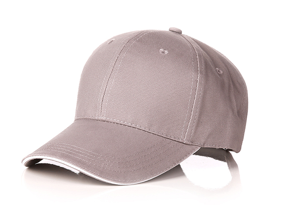 6 panels cotton cap with brass buckle(gray)