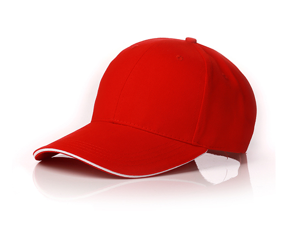 6 panels cotton cap with brass buckle(red)
