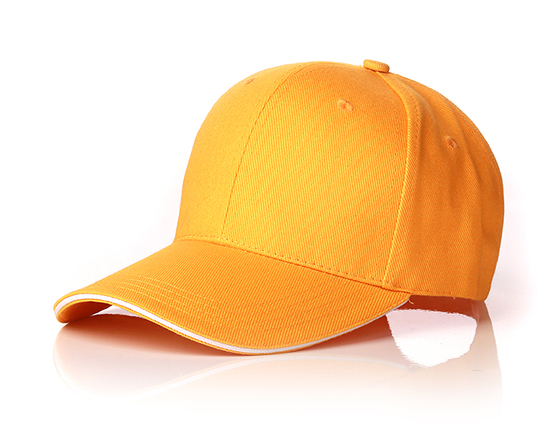 6 panels cotton cap with brass buckle(yellow)