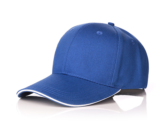 6 panels cotton cap with brass buckle(blue)