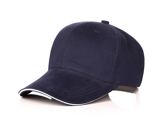 6 panels cotton cap with brass buckle(dark blue)