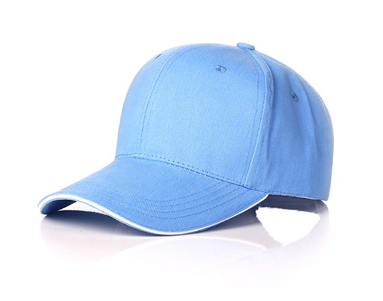 6 panels cotton cap with brass buckle(light blue)