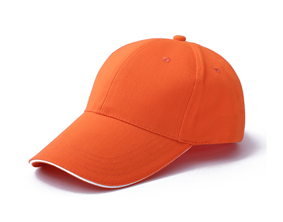 6 panels cotton cap with brass buckle(orange)