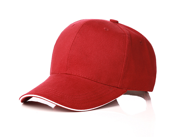 6 panels cotton cap with brass buckle(wine red)