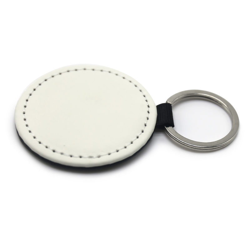 Subliamtion Round Shape Single Side PU Leather Keyring
