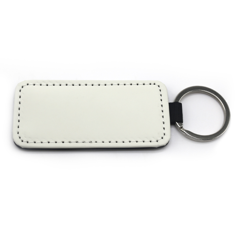Subliamtion Rectangle Shape Single Side PU Leather Keyring