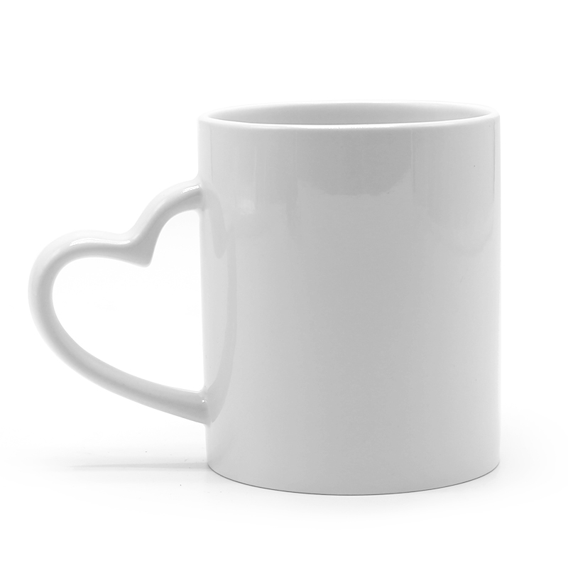 11oz Sublimation Heart Shape Handle White Mug