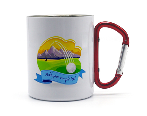 300ml Subblimation White Double Walled Stainless Steel Mug With Carabiner Handle