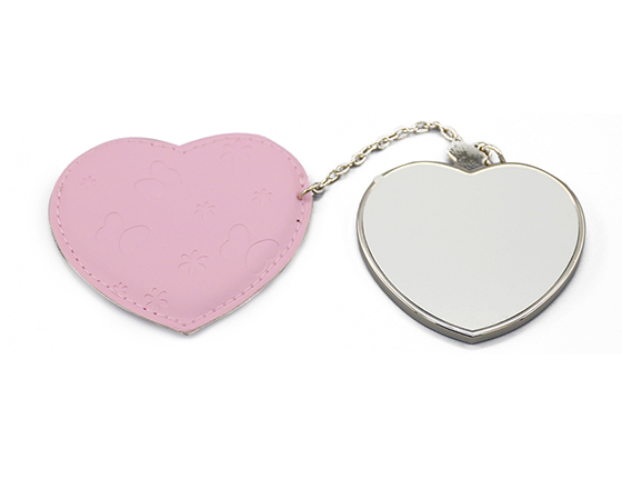 Sublimation Heart Shape Leather Cosmetic Mirror