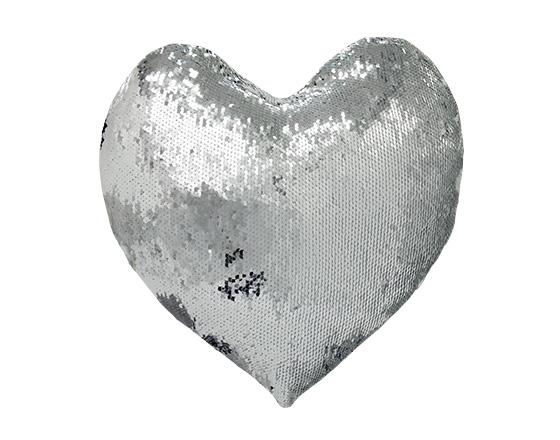 Sublimation Heart Shape Sequin Pillow Cover (Silver)