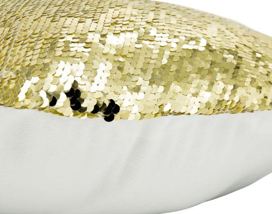 Sublimation Heart Shape Flip Magic Sequin Pillow Cover (Gold)