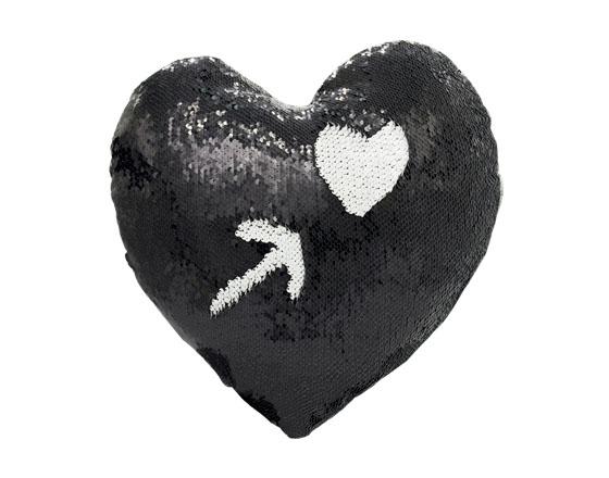 Sublimation Heart Shape Flip Magic Sequin Pillow Cover (Black)