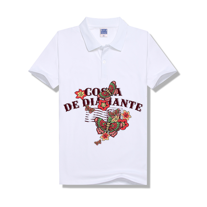 100% Polyester Sublimation Custom Pure White Modal 200g POLO Neck Tshirt