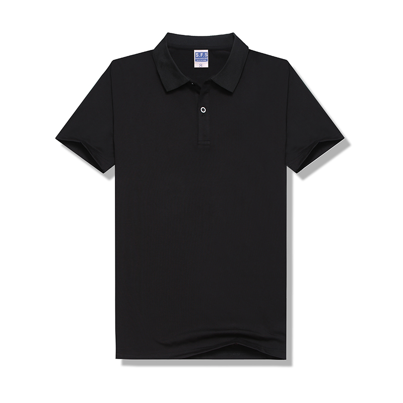 100% Polyester Sublimation Custom Pure Black Modal 200g POLO Neck Tshirt