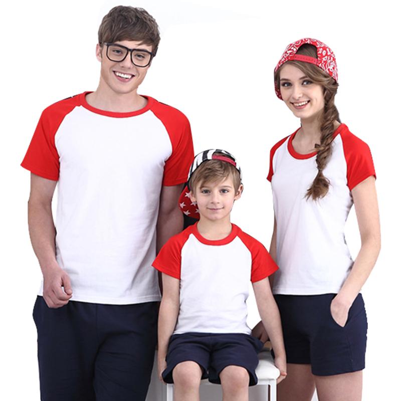 High Quality Cotton Custom Color Shoulder 185g Round Neck Tshirt Parent-child Ou
