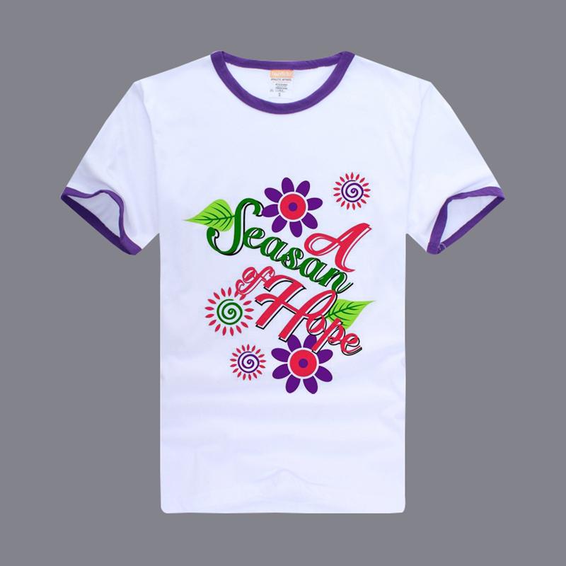 Sublimation High Quality Cotton Custom Color Edge 185g Round Neck Tshirt