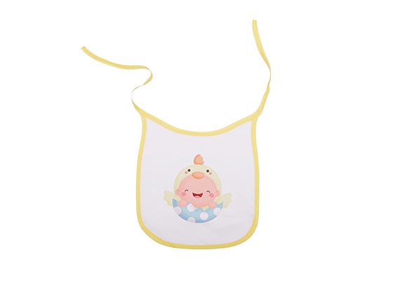 Custom Design Printable Sublimation Friendly Polyester Baby Blank Bibs(Yellow)