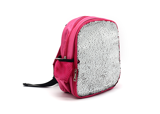 Sequin School Bag Sublimation Backpack (Pink)