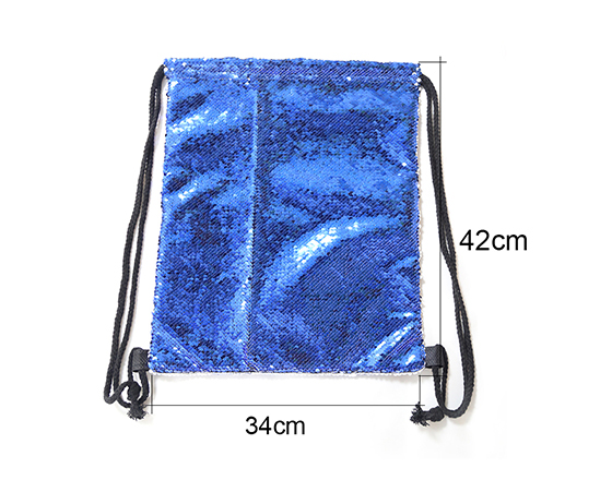 Sublimation Printable Blank Sequin Drawstring Backpack(Blue)